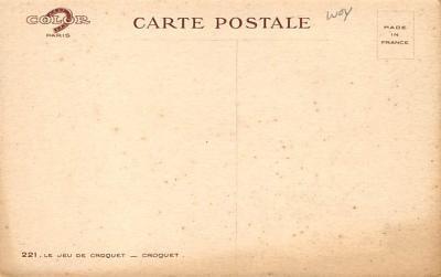 spoA008043 - Artist L. Tanquerey Croquet Postcard  back