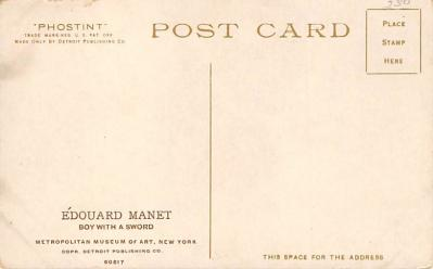 spof011029 - Edouard Manet, Boy with Sword Fencing Postcard  back