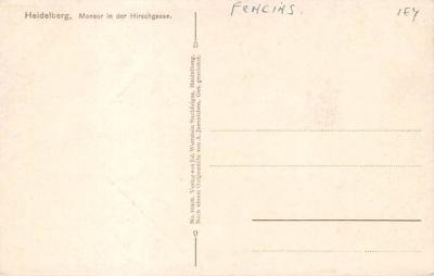 spof011041 - Heidelberg, Mensur auf der Hirschgasse Fencing Postcard  back