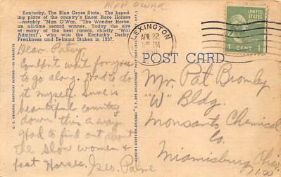 spof021700 - Kentucky, USA Man O War Horse Racing Postcard  back