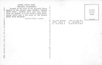 spof021727 - Arcadia, CA, USA Santa Anita Park Horse Racing Postcard  back