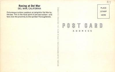 spof021778 - Del Mar, CA, USA Racing at Del Mar Horse Racing Postcard  back