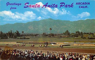 spof021727 - Arcadia, CA, USA Santa Anita Park Horse Racing Postcard
