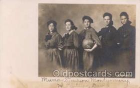 spo001051 - Unknown Basketball Team,  Ball says N.H.N.S. 1906, corner of card says Brown 1906 Photo, Basketball, Basket Ball Postcard Postcards
