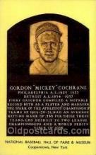 spo003800 - Gordon Mickey Cochrane Baseball Hall of Fame Card, Old Vintage Antique Postcard Post Card