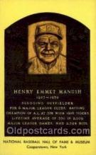 spo003817 - Henry Emmet Manush Baseball Hall of Fame Card, Old Vintage Antique Postcard Post Card