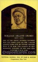 spo003820 - Burleigh Arland Grimes Baseball Hall of Fame Card, Old Vintage Antique Postcard Post Card