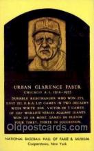 spo003821 - Urban Clarence Faber Baseball Hall of Fame Card, Old Vintage Antique Postcard Post Card