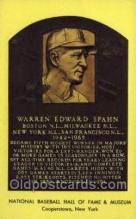spo003831 - Warren Edward Spahn Baseball Hall of Fame Card, Old Vintage Antique Postcard Post Card