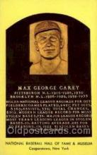 spo003834 - Max George Carey Baseball Hall of Fame Card, Old Vintage Antique Postcard Post Card