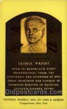 spo003864 - George Wright Baseball Hall of Fame Card, Old Vintage Antique Postcard Post Card