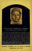 spo003873 - William Harold Terry Baseball Hall of Fame Card, Old Vintage Antique Postcard Post Card