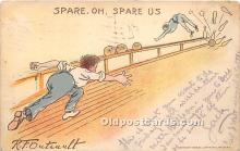 spo004274 - Old Vintage Bowling Postcard Post Card