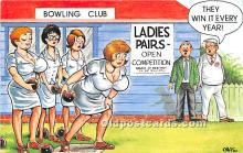 spo004306 - Old Vintage Bowling Postcard Post Card