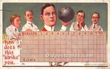 spo004312 - Old Vintage Bowling Postcard Post Card