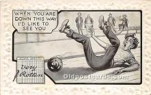 spo004322 - Old Vintage Bowling Postcard Post Card