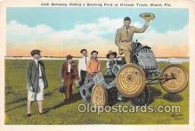 Jack Dempsey Riding a Bucking Ford, Hialeah Track Boxing Postcard Post Card