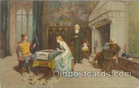 spo007019 - Checkers, Chess Postcard Postcards