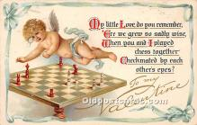 spo007113 - Old Vintage Chess / Checkers Postcard Post Card