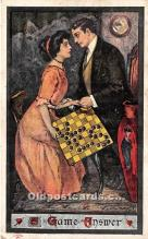 spo007117 - Old Vintage Chess / Checkers Postcard Post Card