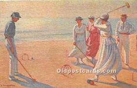 spo008042 - Old Vintage Croquet Postcard Post Card