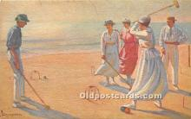 spo008043 - Old Vintage Croquet Postcard Post Card