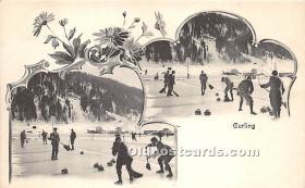 spo009076 - Old Vintage Curling Postcard Post Card