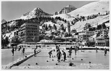 spo009A003 - St. Moritz Switzerland, Real Photo Curling Postcard Post Card