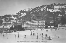 spo009A043 - Villars, Palace, Hotel et Patinaire Switzerland, Curling Postcard