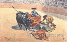 spo017188 - Artist Frank Dean, Bull Fighting Postcard Postcards