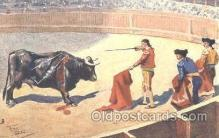 spo017189 - Artist Frank Dean, Bull Fighting Postcard Postcards