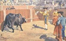 spo017190 - Artist Frank Dean, Bull Fighting Postcard Postcards