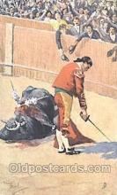 spo017191 - Artist Frank Dean, Bull Fighting Postcard Postcards