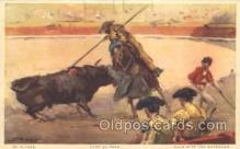 spo017240 - Blow with the Goadstick Bull Fighing, Bullfighting Postcard Postcards