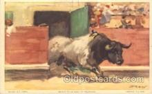 spo017242 - Bull Leaving the Pen Bull Fighing, Bullfighting Postcard Postcards