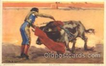 spo017243 - Stabbing the Bull Bull Fighing, Bullfighting Postcard Postcards