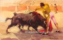 spo017354 - Old Vintage Bull Fighting Postcard Post Card