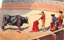 spo017366 - Old Vintage Bull Fighting Postcard Post Card
