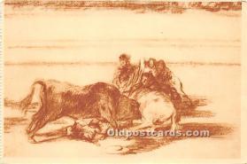 Caida de un picador de su caballo, debajo del toro