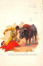 spo017444 - Old Vintage Bull Fighting Postcard Post Card