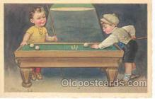 spo018017 - Artist Colombo, Pool, Billiard, Billiards, Postcard Postcards