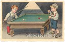 spo018048 - Unsigned Artist Colombo, Pool, Billiard, Billiards, Postcard Postcards