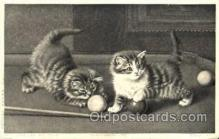 spo018053 - Billiards, Pool, Cat, cats, Postcard Postcards