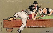 spo018241 - Old Vintage Pool / Billards Postcard Post Card