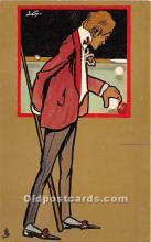 spo018243 - Old Vintage Pool / Billards Postcard Post Card