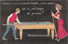 spo018244 - Old Vintage Pool / Billards Postcard Post Card