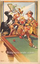 spo018246 - Old Vintage Pool / Billards Postcard Post Card