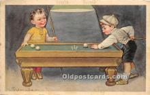 spo018254 - Old Vintage Pool / Billards Postcard Post Card