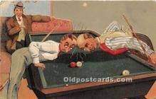 spo018263 - Old Vintage Pool / Billards Postcard Post Card
