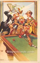 spo018287 - Old Vintage Pool / Billards Postcard Post Card